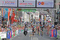 """Christopher Lawless (c) of the JLT Condor cycle team crosses the finishing line in 3rd place during the Abergavenny Festival of Cycling """"Grand Prix of Wales"""" race on Sunday 17th 2016<br /> <br /> <br /> Jeff Thomas Photography -  www.jaypics.photoshelter.com - <br /> e-mail swansea1001@hotmail.co.uk -<br /> Mob: 07837 386244 -"""