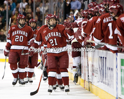 Brian McCafferty (Harvard University - Lexington, MA), Kevin Du (Harvard University - Spruce Grove, AB), and Alex Meintel (Harvard University - Yarmouth, ME) celebrate Dylan Reese's goal which put Harvard up 1-0. The Boston College Eagles defeated the Harvard University Crimson 3-1 in the first round of the 2007 Beanpot Tournament on Monday, February 5, 2007, at the TD Banknorth Garden in Boston, Massachusetts.  The first Beanpot Tournament was played in December 1952 with the scheduling moved to the first two Mondays of February in its sixth year.  The tournament is played between Boston College, Boston University, Harvard University and Northeastern University with the first round matchups alternating each year.