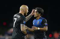 SAN JOSE, CA - JUNE 26: Magnus Eriksson #7, Gilbert Fuentes #35 during a Major League Soccer (MLS) match between the San Jose Earthquakes and the Houston Dynamo on June 26, 2019 at Avaya Stadium in San Jose, California.