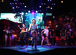 """CJ Eldred and Mitchell Jarvis with cast during the tech rehearsal for """"Rock of Ages"""" 10th Anniversary Production on June 13, 2019 at the New World Stages in New York City."""
