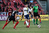 9th February 2019, Spotless Stadium, Sydney, Australia; A League football, Western Sydney Wanderers versus Central Coast Mariners; Aiden O'Neill of the Central Coast Mariners passes the ball as Oriol Riera of the Western Sydney Wanderers watches on
