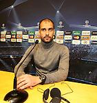 Camp Nou , UEFA Champions League, rueda de prensa previa al partido FC Barcelona - ARsenal FC. En la foto Pep Guardiola en la rueda de prensa