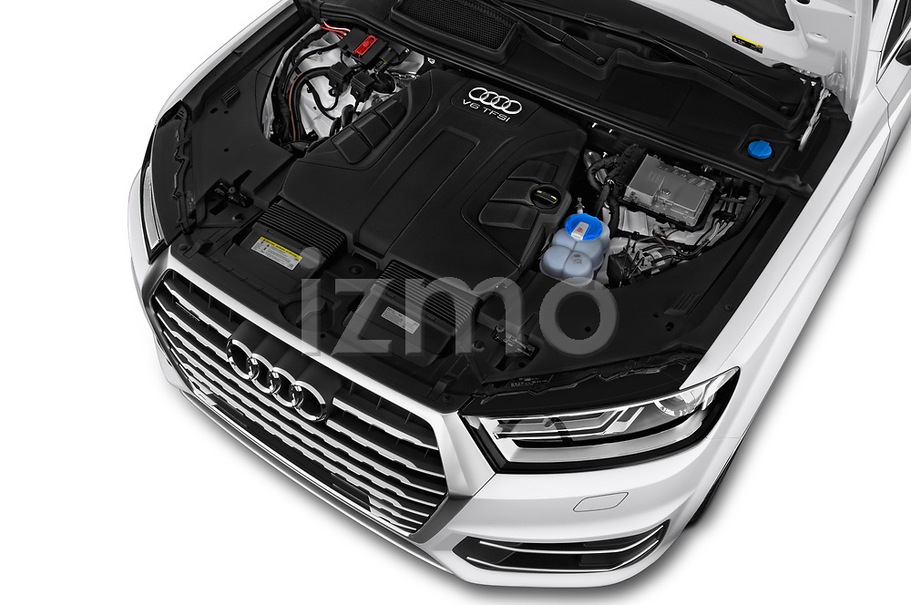 Car stock 2017 Audi Q7 Premium  5 Door SUV engine high angle detail view