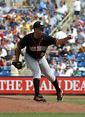 August 24, 2003:  Richard Salazar of the Delmarva Shorebirds, Class-A affiliate of the Baltimore Orioles, during a South Atlantic League game at Classic Park in Eastlake, OH.  Photo by:  Mike Janes/Four Seam Images