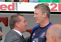 FAO SPORTS PICTURE DESK<br /> Pictured L-R: Swansea manager Brendan Rodgers and Everton manager David Moyes greet each other before the game. Saturday, 24 March 2012<br /> Re: Premier League football, Swansea City FC v Everton at the Liberty Stadium, south Wales.