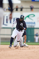 Detroit Tigers second baseman Josh Harrison (1) runs the bases during a Grapefruit League Spring Training game against the New York Yankees on February 27, 2019 at Publix Field at Joker Marchant Stadium in Lakeland, Florida.  Yankees defeated the Tigers 10-4 as the game was called after the sixth inning due to rain.  (Mike Janes/Four Seam Images)