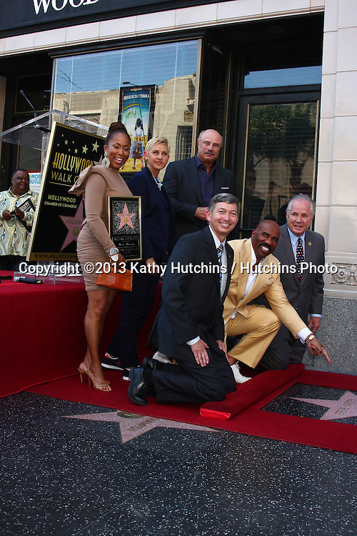LOS ANGELES - MAY 13:  (L-r BackRow) Marjorie Harvey, Ellen DeGeneres, Dr. Phil McGraw;  (L-r Front Row) Leron Gubler, Steve Harvey, Tom LeBonge at the Steve Harvey Hollywood Walk of Fame Star Ceremony at the W Hollywood Hotel  on May 13, 2013 in Los Angeles, CA