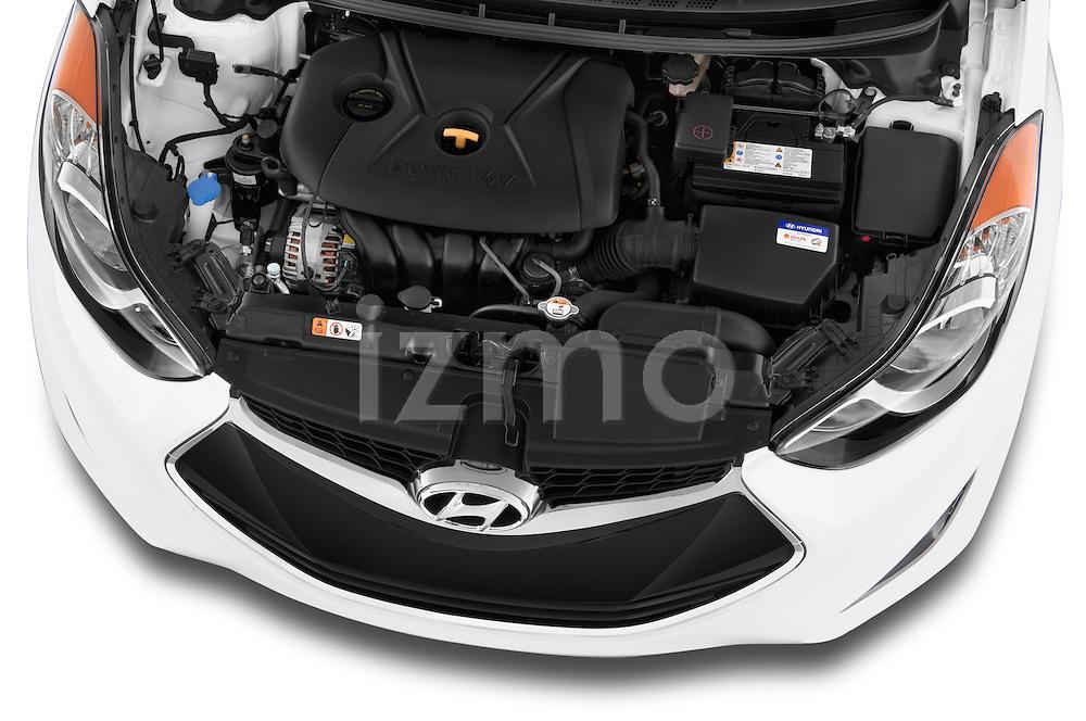High angle engine detail of a  .2013 Hyundai Elantra Coupe