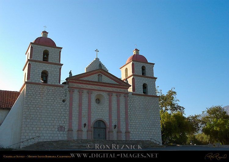 Chapel at Sunset, Mission Santa Barbara, California