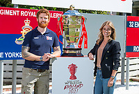 Picture by Allan McKenzie/SWpix.com - 14/06/2018 - Commercial - Rugby League - Rugby League World Cup 2021 Ambassador Unveil, Marne Barracks, Catterick, England - James Simpson with Rachel Stringer and the Rugby League World Cup.