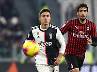 Calcio, Serie A: Juventus - Milan, Turin, Allianz Stadium, November 10, 2019.<br /> Juventus' Paulo Dybala (l) in action with Milan's Lucas Paqueta (r) during the Italian Serie A football match between Juventus and Milan at the Allianz stadium in Turin, November 10, 2019.<br /> UPDATE IMAGES PRESS/Isabella Bonotto