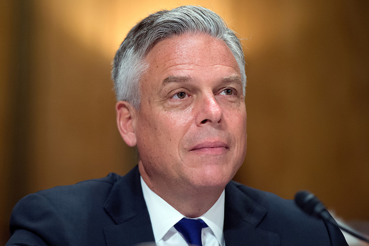 "UNITED STATES - JUNE 17: Former Gov. Jon Huntsman Jr., R-Utah, co-chair of No Labels, appears before a Senate Homeland Security and Governmental Affairs Committee hearing in Dirksen Building titled ""Governing Through Goal Setting: Enhancing the Economic and National Security of America,"" June 17, 2015. Former Sen. Joseph Lieberman, I-Conn., co-chair of No Labels, also testified. (Photo By Tom Williams/CQ Roll Call)"