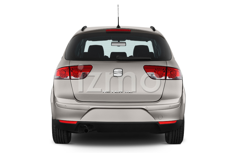 Straight rear view of a 2014 Seat ALTEA XL I-TECH Special 5 Door Mini MPV 2WD Rear View  stock images