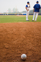 19 August 2007: View of a baseball on the field during the Japan 4-3 victory over France in the Good Luck Beijing International baseball tournament (olympic test event) at the Wukesong Baseball Field in Beijing, China.
