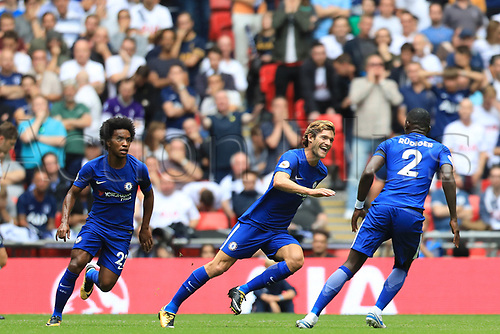 20th August 2017, Wembley Stadium, London, England; EPL Premier League football, Tottenham Hotspur versus Chelsea; Marcos Alonso of Chelsea takes a free kick and scores making it 0-1