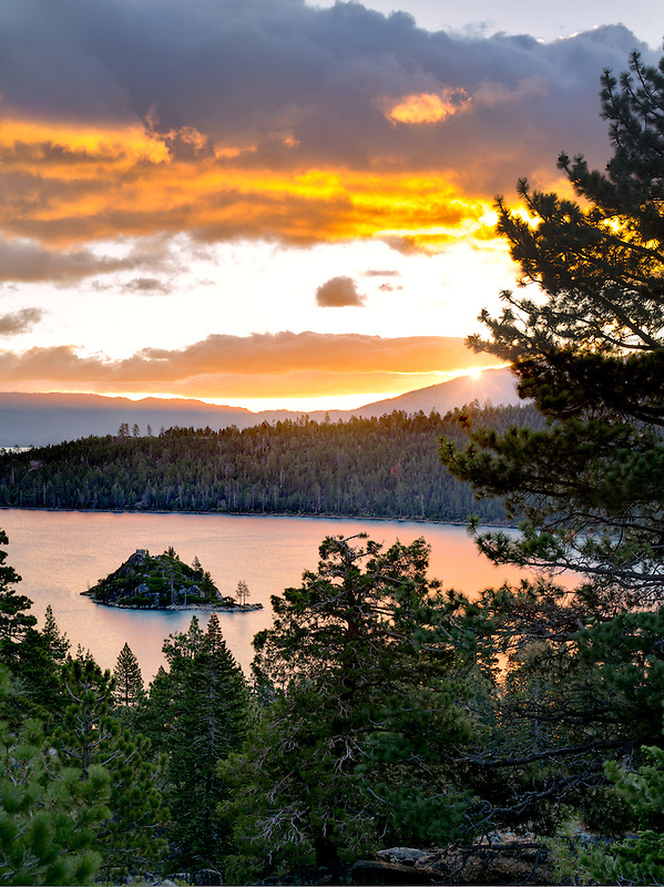 Sunrise over Emerald Bay with Fannette Island, Lake Tahoe, California.