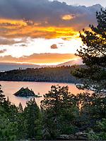 Sunrise over Emerald Bay with Fannette Island, Lake Tahoe, California.