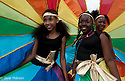 Sunny smiles despite windy weather for Children's Day at Notting Hill Carnival.28.8.10. © Jane Hobson