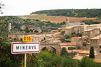 Minerve village Minervois. Languedoc. Road sign with the name of the village. France. Europe.