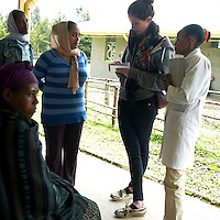 Irish journalist Stephanie Hegarty (second from right) interviews clients of the Cholga health center in rural Ethiopia on August 24, 2010.