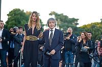 Roma, 5 Giugno, 2013. Carlo Vanzina con Virginie Marsan al 'One Night Only' Roma organizzato da Giorgio Armani al Palazzo della Civilta Italiana.