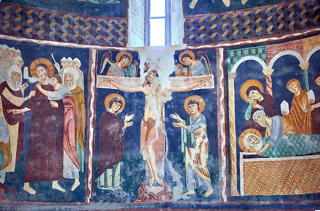 Interior Byzantine Romanesque style Christian frescoes of biblical scenes, Santissima Trinita di Saccargia, consecrated 1116 AD, Codrongianos, Sardinia.