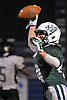 Locust Valley No. 44 Nick Petralia reacts after catching a pass for a touchdown during a Nassau County varsity football Conference IV semifinal against West Hempstead at Hofstra University on Thursday, Nov. 12, 2015. Locust Valley won 34-10.<br /> <br /> James Escher