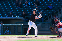 Oregon State Beavers left fielder Joe Casey (6) at bat during a game against the Gonzaga Bulldogs on February 16, 2019 at Surprise Stadium in Surprise, Arizona. Oregon State defeated Gonzaga 9-3. (Zachary Lucy/Four Seam Images)