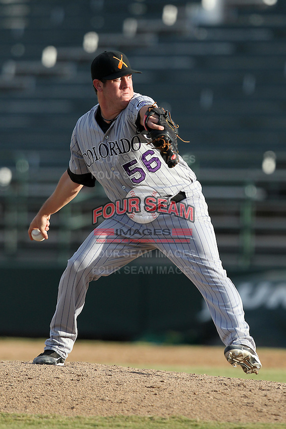 Salt River Rafters pitcher Rob Scahill #56 during an Arizona Fall League game against the Phoenix Desert Dogs at Phoenix Municipal Stadium on November 1, 2011 in Phoenix, Arizona.  Salt River defeated Phoenix 10-7.  (Mike Janes/Four Seam Images)