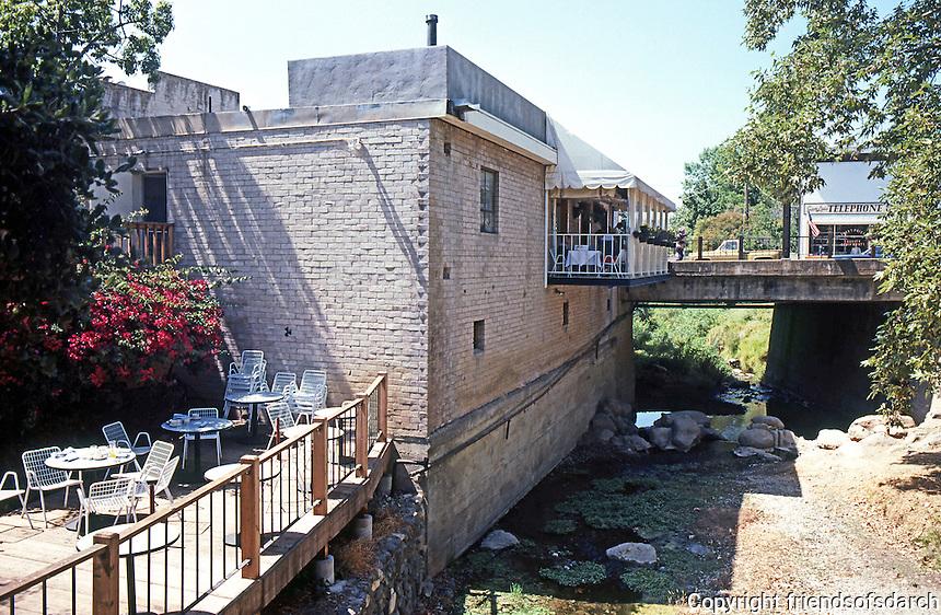 San Luis Obispo CA:  Mission Mall, 1969. San Luis Obispo Creek, street bridge & outdoor restaurant.