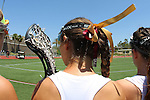 San Diego, CA 05/21/11 - A Torrey Pines player sports her team colors  while listening to the national anthem.