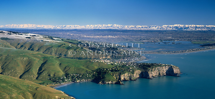 Aerial of Sumner Head and coastline. Christchurch in background. Canterbury Region. New Zealand.