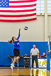 18 October 2015: Yeshiva University Maccabee Setter and Defensive Specialist Emily Rohan, a Senior from Dallas, TX, jumps for a hit during game action against the Sage College Gators, at the Peter Sharp Center, College of Mount Saint Vincent, in Riverdale, NY. The Gators defeated the Maccabees 3-0 in the NCAA Division III Women's Volleyball Skyline matchup. Mandatory Credit: Ed Wolfstein Photo *** RAW (NEF) Image File Available ***