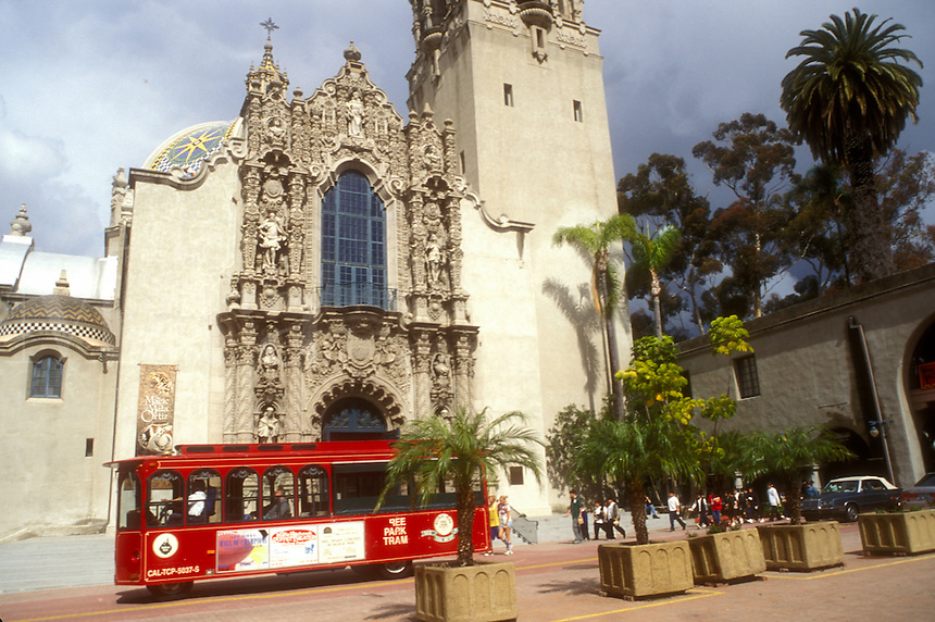 San Diego, California, CA, Red trolley in front of California Tower at Balboa Park in San Diego.