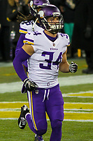 Minnesota Vikings safety Andrew Sendejo (34) during a National Football League game against the Green Bay Packers on December 23rd, 2017 at Lambeau Field in Green Bay, Wisconsin. Minnesota defeated Green Bay 16-0. (Brad Krause/Krause Sports Photography)