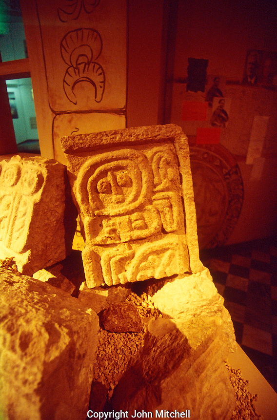 Mayan glyph in the Yucatan Regional Museum of Anthropology and History on Paseo Montejo, Merida, Yucatan, Mexico