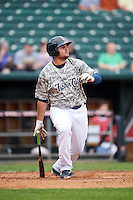 New Hampshire Fisher Cats first baseman Rowdy Tellez (34) during a game against the Reading Fightin Phils on May 30, 2016 at Northeast Delta Dental Stadium in Manchester, New Hampshire.  New Hampshire defeated Reading 9-1.  (Mike Janes/Four Seam Images)