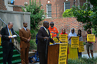 July 19, 2011 (Washington, DC)  Akbar Muhammad (center), the International Representative of Louis Farrakhan and the Nation of Islam, held a press conference in front of the Embassy of Guyana, announcing a $15 million dollar lawsuit against the government of Guyana.  Mr. Muhammad alleges he was falsely detained in Guyana on May 19, 2011, for what he describes as fabricated charges of drug trafficking and terrorism.  He was later released without being formally charged.  Muhammad maintains his innocence, claiming the allegations were fabricated to tarnish his image, character and reputation.  He also sought an apology from the Guyanese government, but Bharrat Jagdeo, President of Guyana, has refused to apologize. (Photo by Don Baxter/Media Images International)