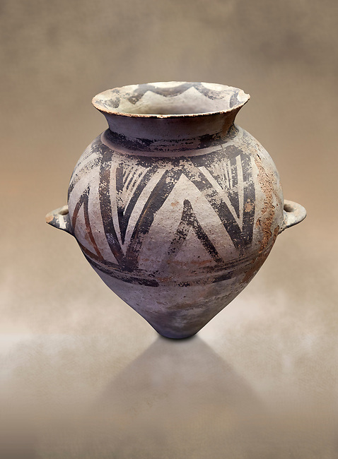 Cycladic amphora with 'melian' painted motifs.  Early Cycladic III (2300-2000 BC) , Phylakopi I, Melos. National Archaeological Museum Athens.