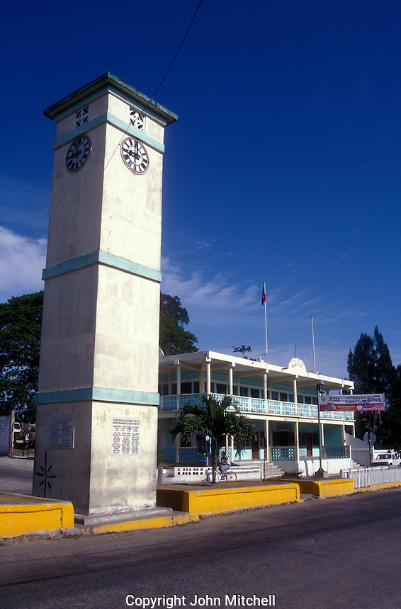 Clock tower in the town of Orange Walk, Belize, Central America