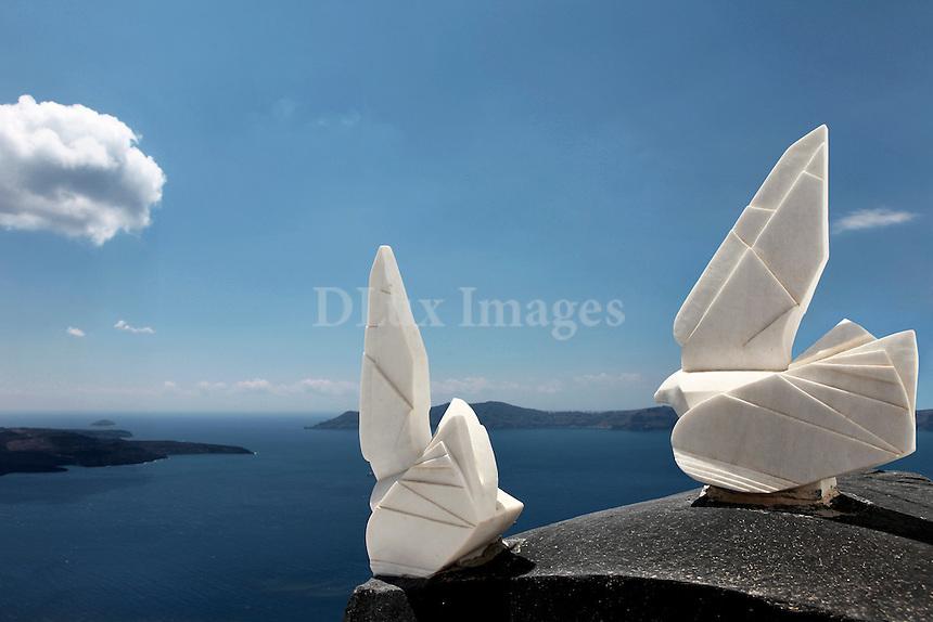 sculptures overlooking the Aegean Sea