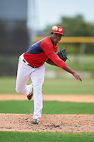 GCL Nationals relief pitcher Diomedes Eusebio (16) during a game against the GCL Astros on August 14, 2016 at the Carl Barger Baseball Complex in Viera, Florida.  GCL Nationals defeated GCL Astros 8-6.  (Mike Janes/Four Seam Images)
