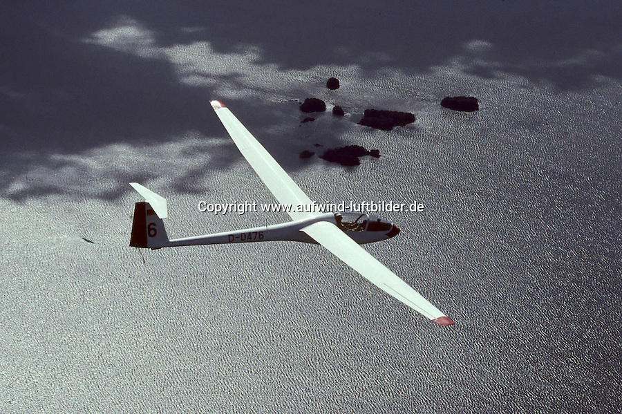 Segelflug, Segelflugzeug, LS1 , LS 1, LS1c, Rolladen Schneider, Schweden, See, Wellen, Inseln