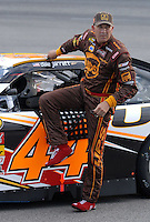 May 4, 2007; Richmond, VA, USA; Nascar Nextel Cup Series driver Dale Jarrett (44) gets out of his car after failing to qiualify for the first time since 1994 during qualifying for the Jim Stewart 400 at Richmond International Raceway. Mandatory Credit: Mark J. Rebilas