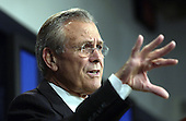 United States Secretary of Defense Donald H. Rumsfeld talks to reporters about the coalition's efforts in establishing and training an Iraqi police force during a Pentagon press briefing on October 30, 2003.  Rumsfeld also updated reporters on the coalition's progress elsewhere during Operation Iraqi Freedom.  <br /> Mandatory Credit: Andy Dunaway / DoD via CNP