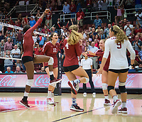 STANFORD, CA - September 9, 2018: Tami Alade, Meghan McClure, Audriana FitzmorrisMorgan Hentz, Jenna Gray at Maples Pavilion. The Stanford Cardinal defeated #1 ranked Minnesota 3-1 in the Big Ten / PAC-12 Challenge.