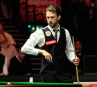 Judd Trump weighs up his options during the Dafabet Masters Quarter Final 2 match between Judd Trump and Neil Robertson at Alexandra Palace, London, England on 15 January 2016. Photo by Liam Smith / PRiME Media Images.