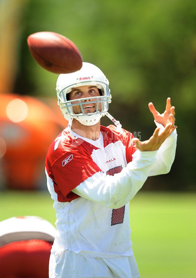 Jun 9, 2008; Tempe, AZ, USA; Arizona Cardinals quarterback (7) Matt Leinart catches a ball during mini camp at the Cardinals practice facility. Mandatory Credit: Mark J. Rebilas-
