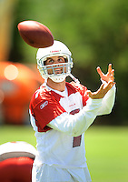 Jun 9, 2008; Tempe, AZ, USA; Arizona Cardinals quarterback (7) Matt Leinart catches a ball during mini camp at the Cardinals practice facility. Mandatory Credit: Mark J. Rebilas-