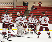Petr Placek (Harvard - 27), Luke Greiner (Harvard - 26), Peter Traber (Harvard - 32), Brian Hart (Harvard - 39), Jimmy Vesey (Harvard - 19), Raphael Girard (Harvard - 30) - Danny Biega (Harvard - 9) - The Class of 2013 was celebrated following the final Harvard Crimson home game of the season on Saturday, March 2, 2013, at Bright Hockey Center in Cambridge, Massachusetts.